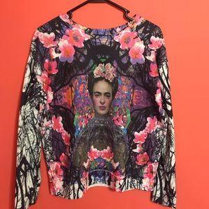 Frida Khalo floral, colorful sweater, size M